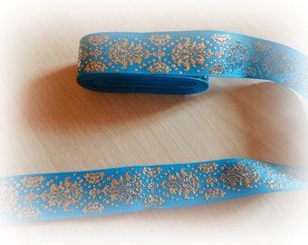 1 meter Ribbon grosgrain turquoise blue arabesque silver 22 mm