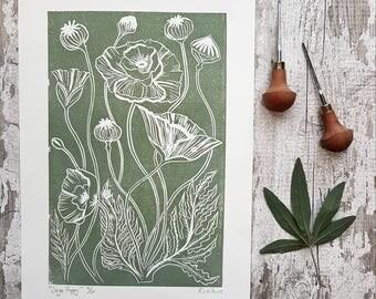Sage green Poppy botanic art prints, wall art, wall decor, living room wall art, bedroom wall art,Illustration