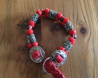Red And Silver Beaded Dog Cat Martingale Collar, Boho Hippy Dog Collar, Boho Cat Collar