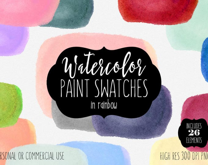 WATERCOLOR SWATCH Clipart Commercial Use Clipart 26 Watercolor Paint Rectangles Watercolor Brush Stroke Textures Swatches Shop Logo Graphics