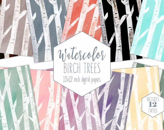 WATERCOLOR BIRCH TREE Digital Paper Pack Commercial Use Tree Bark Backgrounds Wedding Scrapbook Paper Watercolor Birch Tree Clipart Patterns