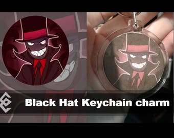 Black Hat Keychain Charm   Villainous   cartoon   keychain