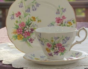 Queen Anne, Old Country Spray, Vintage Tea Cup Trio, Tea Cup, Saucer and Side Plate, Floral Bone China, Made in England