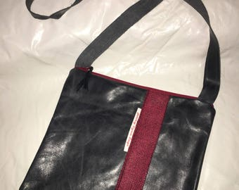 Black leather handmade handbag