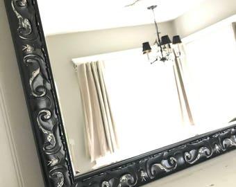 Baroque Mirror, Black Distressed Mirror, Large Mirror, Bathroom Mirror, Vanity Mirror, Living Room Mirror, Salon Mirror