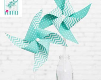 Shmick Blue dots windmill 2 pack Birthday Baby Shower diy kit