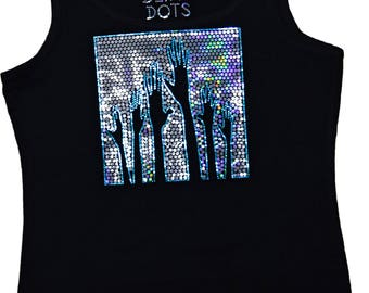Party Ultra Bling Tank Top Club wear Black Shirt Glossy Hands up Festival glitter