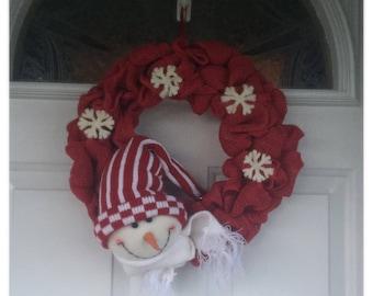 Snowman. Winter wreath. Snowman wreath. Red burlap. Snowflakes. Winter snowman. Door wreath. Holiday Home Decor. Front Door Decorsale