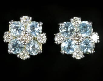 Aquamarine and Diamond Cluster Earrings 18ct Gold