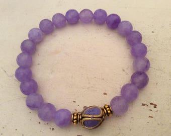Mala Bracelet, Lavender Mala Bracelet, Tibetan Bead Bracelet, Yoga Mala Bracelet, Jade Beads Mala Bracelet, Gift for Her, Purple Bracelet