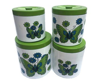 Vintage Canister Set 1970s Butterfly Decor Vintage Kitchen Canister Set Retro Canister Set 70s Canister Flour Sugar Coffee Tea Set