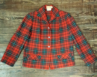 Vintage Red/Green Plaid Pendleton Women's Blazer