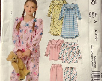 Girls nightgown and pajamas McCalls pattern