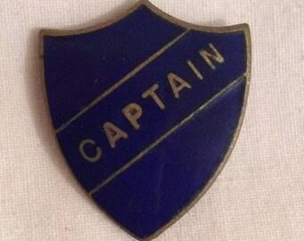 Vintage CAPTAIN school badge pin blue enamel shield
