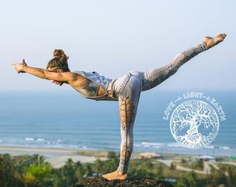 Yoga clothing. Light blue yoga set. Yoga wear. Cutted leggins. Yoga bra. Open side t-shirt.