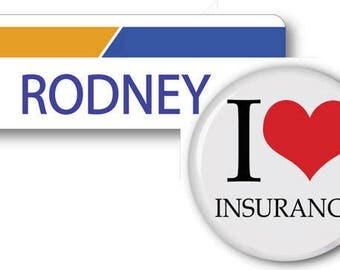 RODNEY From Progressive Insurance Halloween Costume Name Badge Tag magnetic Fastener & Button Ships ASAP FREE