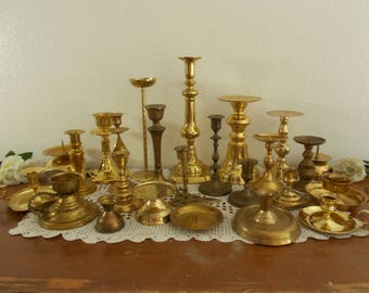 Large Vintage Gold Brass Taper Pillar Candle Holder Set Rustic Shabby Chic Wedding Reception Table Decoration Instant Candlestick Collection