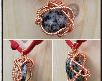 """Wire wrapped Snowflake Obsidian """"Medusa"""" necklace"""