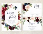 Printable Wedding Invitation, Rustic Wedding Invites, Fall Wedding, Burgundy Invite, Winter, Navy Blue, Floral, Modern, Digital Download