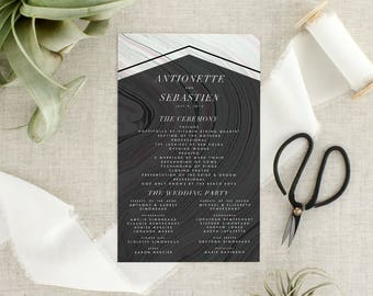 Modern Boho Wedding Program   Bohemian Wedding Ceremony Program   Geometric Wedding  Program   Marble Wedding