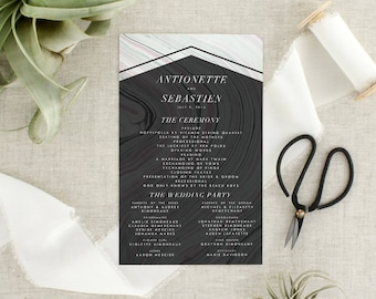 Modern Boho Wedding Program   Bohemian Wedding Ceremony Program   Geometric Wedding  Program   Marble Wedding