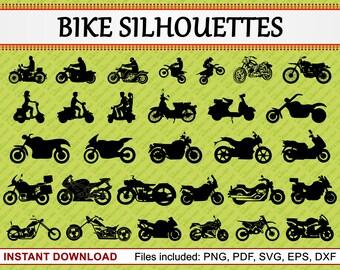 Bike Silhouette, Set of 30 Commercial Use Clipart, Motor Bike Clipart, Racing Bike, Dirt Bike, Motocross Bike, jpg pdf png eps dxf svg files