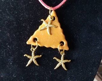 Golden Triangle Starfish Polymer Clay Necklace