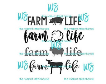 SVG - Farm Life SVG,  jpg, png, dxf included downloadable file only, cotton bole svg, cow svg, pig svg, sheep, lamb goat rabbit lamb horse