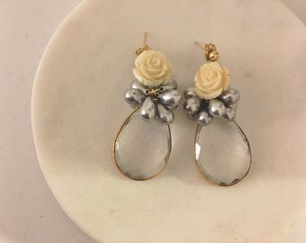 Crystal dropped with porcelain roses earrings