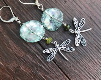 Dragonflies and glass earrings