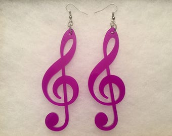 3.5in Lightweight Acrylic Purple Clef Notes