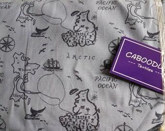 Pirates Treasure Map , Cotton Lycra Jersey Knit Fabric