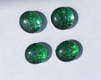 Emerald Green Sparkle Magnets - Green Glitter Magnets - Glittery Office Supplies - Green Office Supplies - Green Locker Supplies