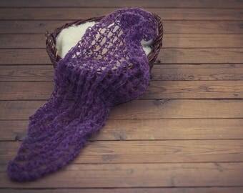 Purple newborn wrap/mohair props/newborn knit wraps/newborn lace wrap/newborn photo prop/newborn prop/newborn stretch wrap/newborn wrap prop
