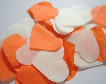 Orange - ivory heart confetti Task No - 25 handles (handmade)