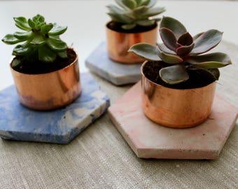 Copper Concrete marble succulent planter holder
