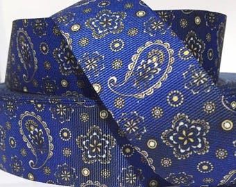 """Paisley Denim Design Dog Collar - Side Release Buckle (1"""" Width) - D-Ring Martingale Option Available"""