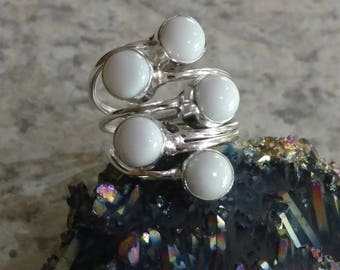 White Agate Ring Size 8
