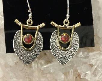 Abstract Fire Opal Dangle Earrings