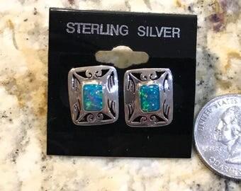 Fire Opal Stud Earrings