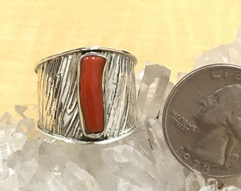 Red Coral Ring, Size 9 1/2