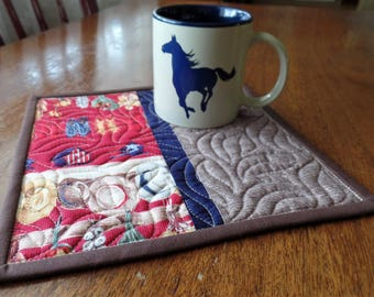 Quilted Mug Rug, Western Mug Rug, Cowboy Mug Rug, Snack Mat, Candle Mat, Secret Sister, Teacher, Hostess, or Co-Worker Gift