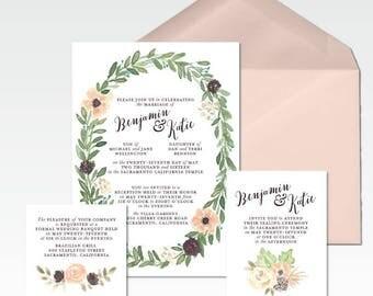 Custom Wedding Watercolor Invitations