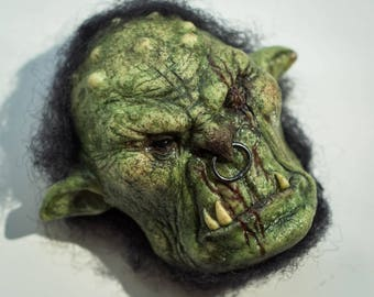 Green Orc magnet sculpture. Handmade polymer clay fantasy figurine.Home decor.World of Warcraft style collectable art.Horror folklore
