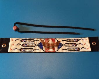 Red, White & Blue, Bald Eagle Totem, Native American Inspired, Loom Beaded, Handwoven, Bracelet with Leather Back and Tie Closure