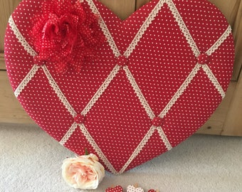 Heart Shaped Memo Board with Red and White Polka Dot and Fabric Flower Embellishment