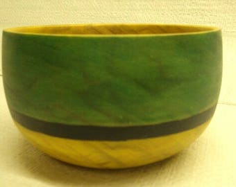 Hand turned Salicaceae wooden decorative painted bowl