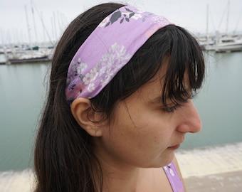 Purple Floral Headband - 100% Organic Cotton - Handmade - Compostable