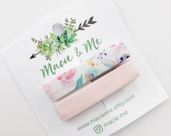 Floral and Blush Pink Bar Clips