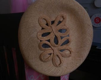 Tan Straw Hat with embellished straw ribbon